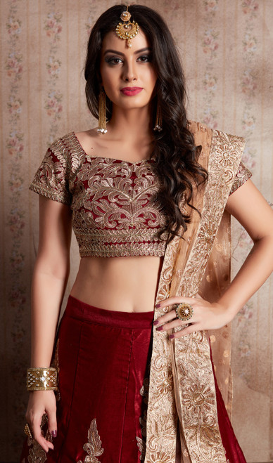 Choli Skirt in Maroon Color Shaded Velvet Silk