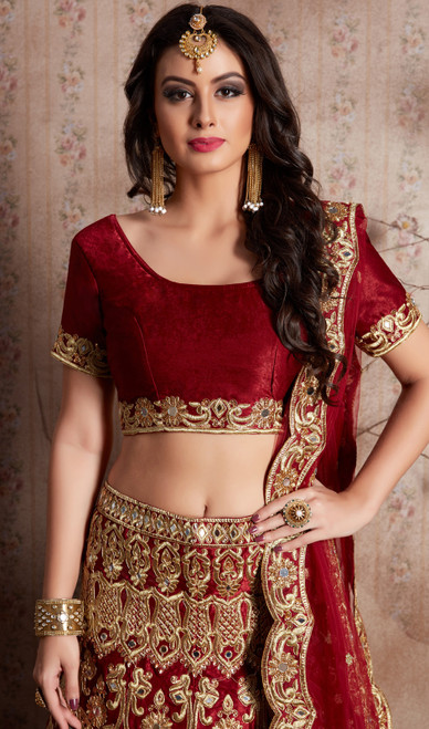 Lehenga Choli, Velvet Silk Fabric in Maroon Color