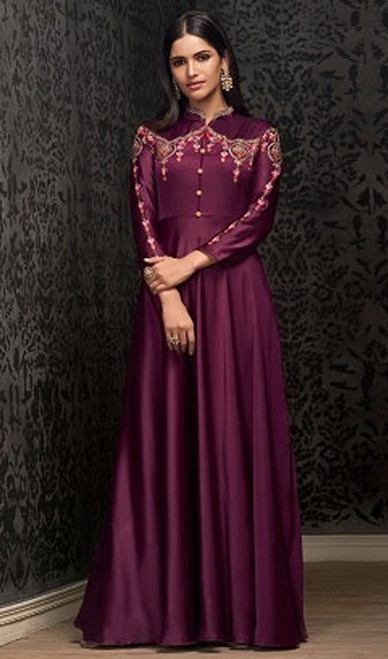 Violet Color Embroidered Georgette Gown
