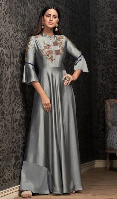 Gray Color Georgette Embroidered Gown
