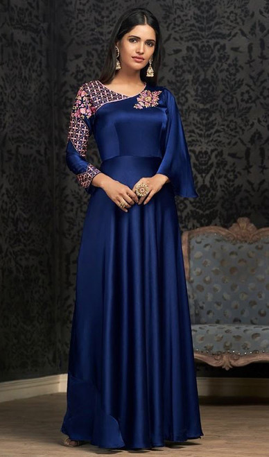 Royal Blue Color Shaded Georgette Gown