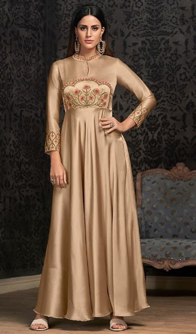 Evening Gown in Beige Color Shaded Georgette