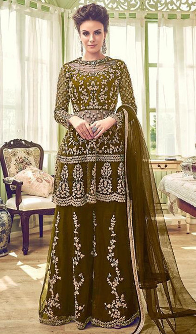 Mehendi Color Embroidered Net Palazzo Suit