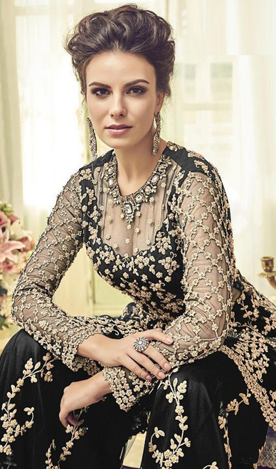 Black Color Net Embroidered Palazzo Dress