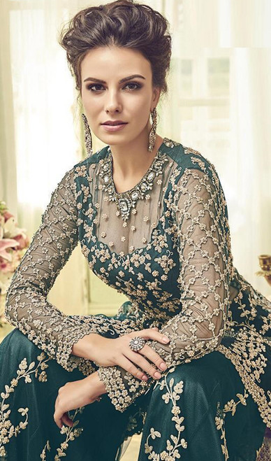 Embroidered Green Color Net Palazzo Suit