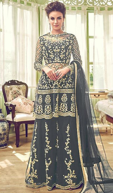 Embroidered Gray Color Net Palazzo Suit