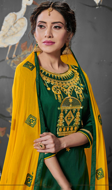 Green Color Embroidered Silk Cotton Punjabi Suit