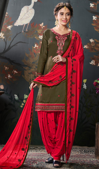Mehendi Color Shaded Silk Cotton Punjabi Dress