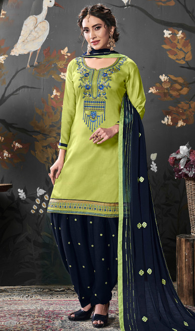 Punjabi Suit in Lime Color Shaded Silk Cotton