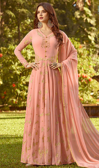 Peach Color Embroidered Georgette Anarkali Suit