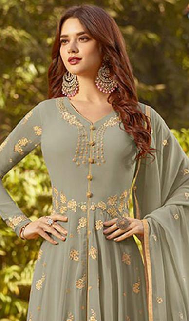 Gray Color Georgette Embroidered Anarkali Dress