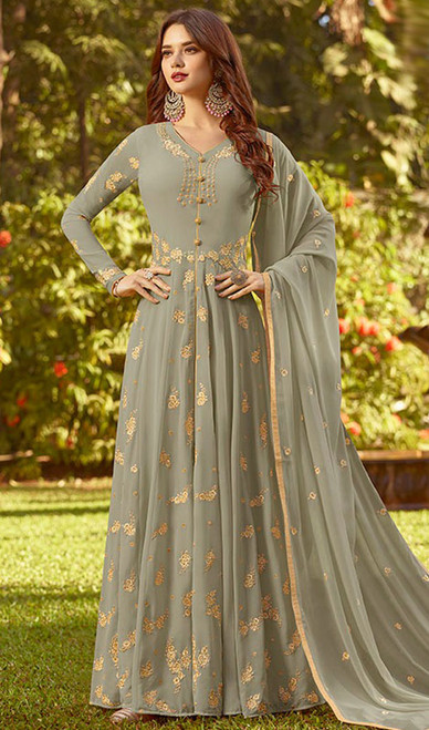 Gray Color Georgette Embroidered Anarkali Dress