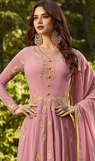 Pink Color Embroidered Georgette Anarkali Suit