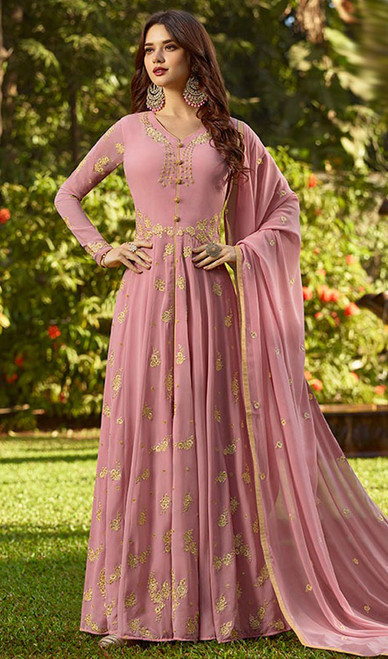 Pink Color Embroidered Georgette Anarkali Suit