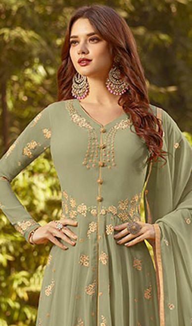 Anarkali Suit in Green Color Shaded Georgette