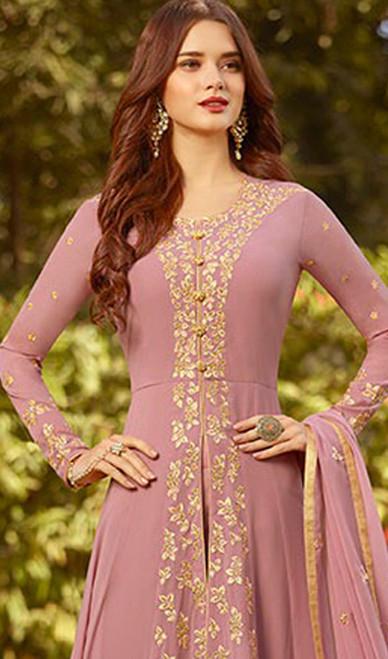 Pink Color Georgette  Embroidered Anarkali Suit