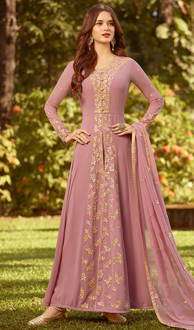Pink Color Georgette  Embroidered Anarkali Suit
