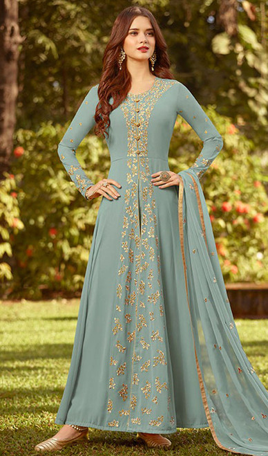 Anarkali Suit in Gray Color Embroidered Georgette