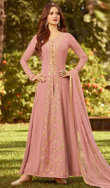 Pink Color Georgette Embroidered Anarkali Dress
