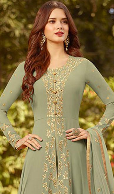 Embroidered Georgette Green Color Anarkali Suit