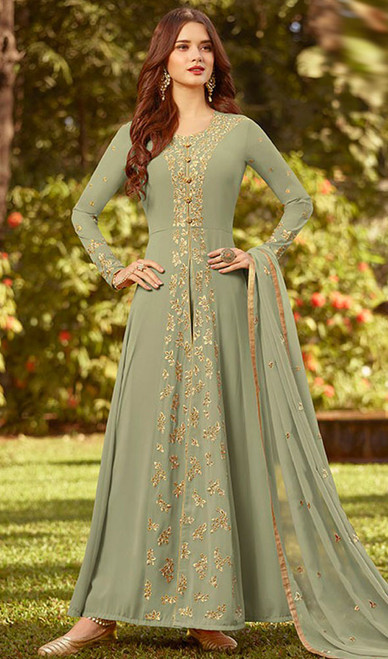 Embroidered Georgette Green Color Anarkali Suit