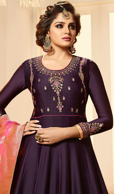 Purple Color Embroidered Satin Georgette Anarkali Suit