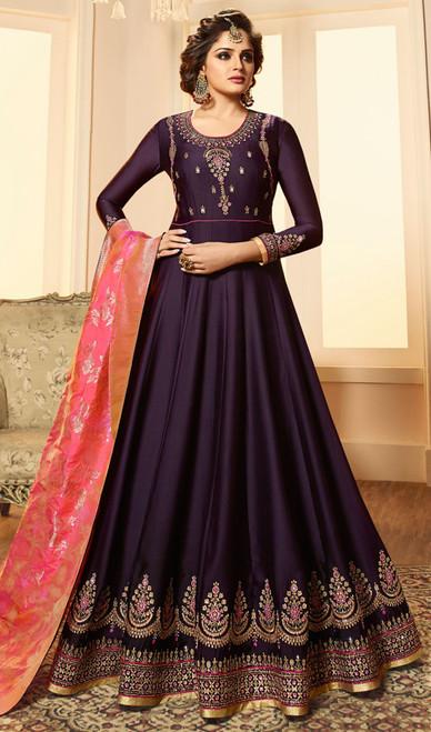 Purple Color Embroidered Satin Georgette Anarkali Suit