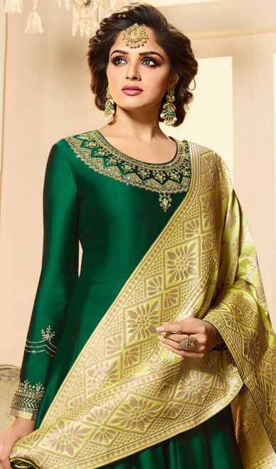 Green Color Satin Georgette Embroidered Anarkali Dress