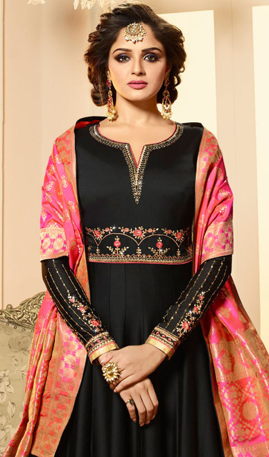 Black Color Embroidered Satin Georgette Anarkali Suit