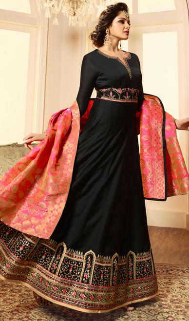 Black Color Embroidered Satin Georgette Anarkali Suit