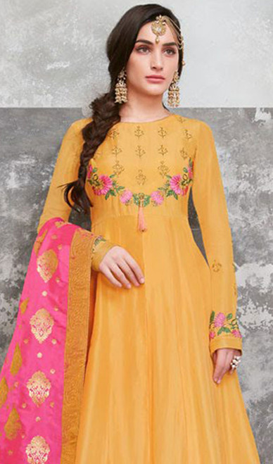 Anarkali Suit in Yellow Color Embroidered Poly