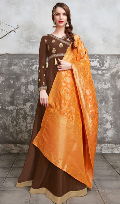 Chocolate Color Embroidered Poly Anarkali Dress