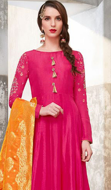 Pink Color Poly Embroidered Anarkali Suit