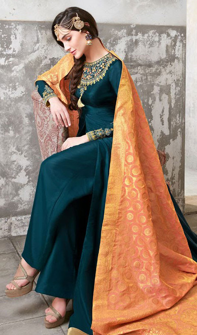 Teel Blue Color Shaded Poly Desinger Suit