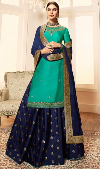 Sea Green Color Satin Georgette Desinger Dress