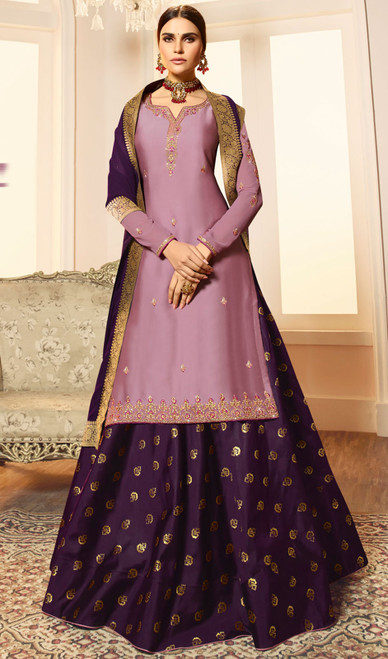 Pink Color Shaded Satin Georgette Desinger Suit