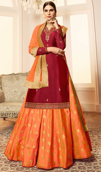 Maroon Color Satin Georgette Desinger Suit