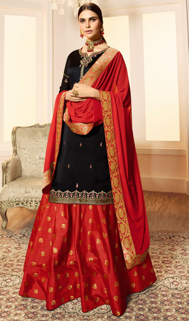 Black Color Embroidered Satin Georgette Desinger Suit