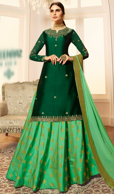 Green Color Shaded Satin Georgette Desinger Suit