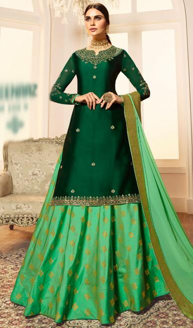 Green Color Shaded Satin Georgette Desinger Suit