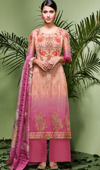 Peach and Pink Color Silk Palazzo Suit