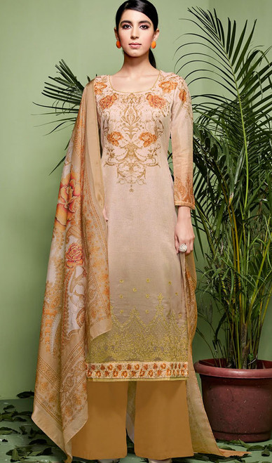 Cream Color Shaded Silk Palazzo Dress