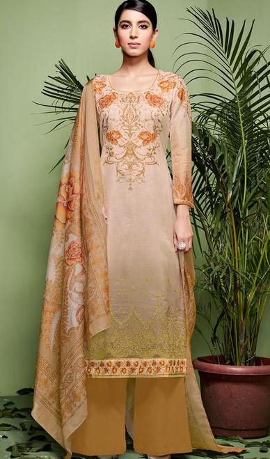 Cream Color Shaded Silk Palazzo Dress