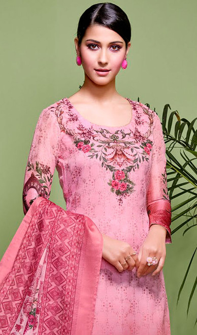 Pink Color Shaded Silk Palazzo Suit