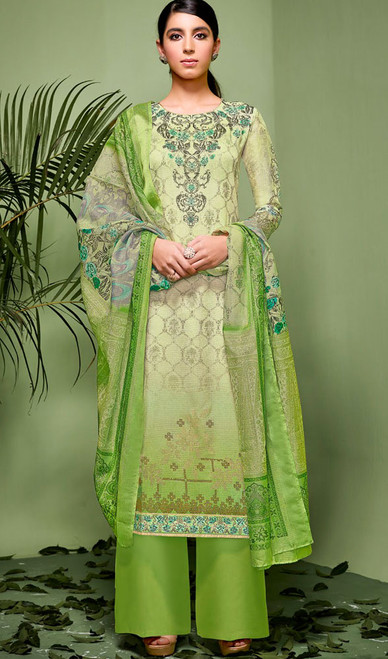 Green Color Shaded Silk Palazzo Suit