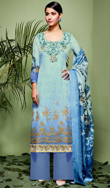 Sky Blue Color Shaded Silk Palazzo Suit