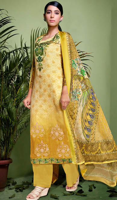 Yellow Color Shaded Silk Palazzo Suit