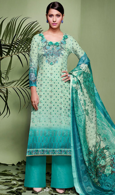 Palazzo Suit in Rama Color Shaded Silk