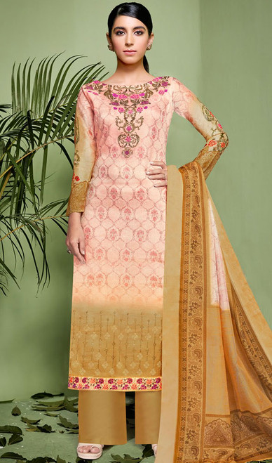 Pink and Beige Color Shaded Silk Palazzo Suit