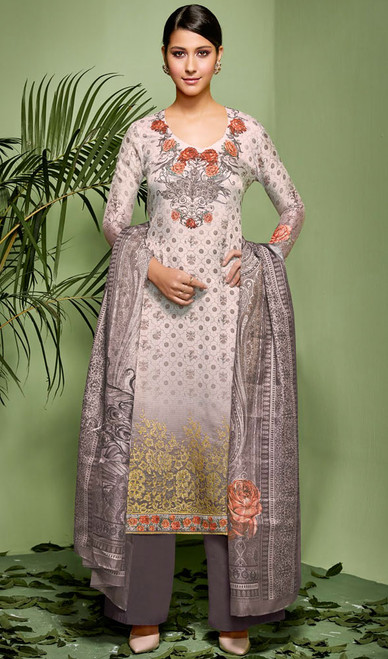 Palazzo Suit, Silk Fabric in Gray Color Shaded